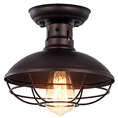 Pauwer Industrial Metal Cage Ceiling Light Semi Flush Mount Mini Pendant Lighting Oil Rubbed Bronze Chandelier for Farmhouse Porch Kitchen Bathroom