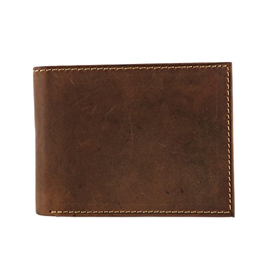 Leather Bi Fold Distressed (CTM Men's Hunter Leather Distressed RFID Bifold Wallet with Interior Zipper)