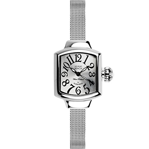 Glam Rock Women's MBD27139 Miami Beach Art Deco Silver Dial Stainless Steel Watch