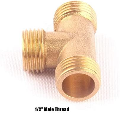 1pc Brass 1//2 Male Thread 3 Way Tee Connector Garden Irrigation Watering Metal Adapter Gas Pipe Fittings