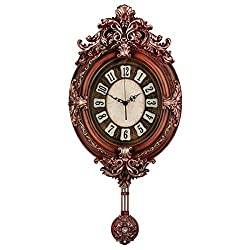 Fancy Elegant Ethnic Luxury Wall Clock Pendulum W13H26 Inch Fashion Art Silent Battery Operated Bronze Resin Frame Antique Retro Flower Creative Home Decorative for Living Room Senior Couple ZJART