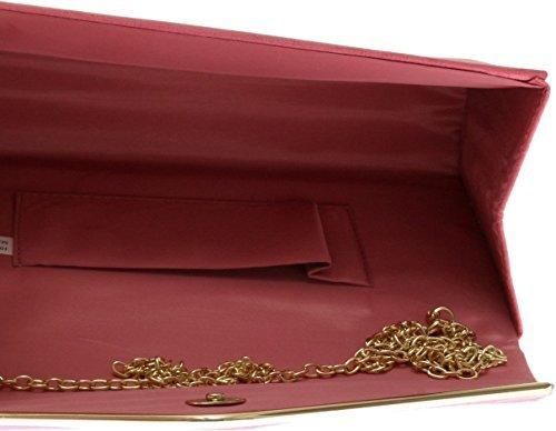 Blush Pale Envelope Metallic amp;G Bag Suede Plain Design Ladies Coral Clutch Pink Frame H Faux wxP71Uq1Y