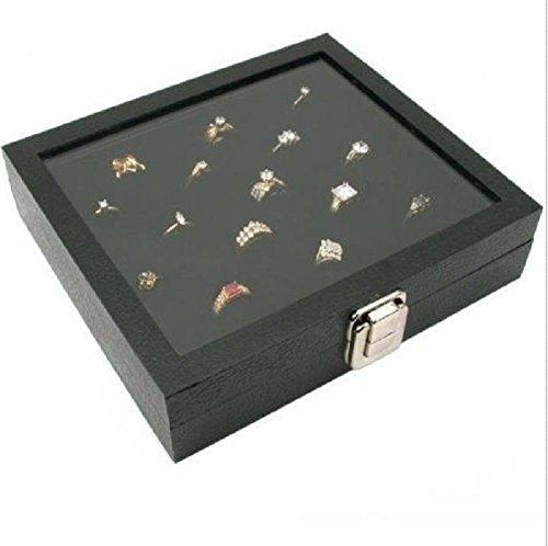Ring Box Organizer - 36 Slot Classic Jewelry Glass Top Display Case Holder - Storage Tray