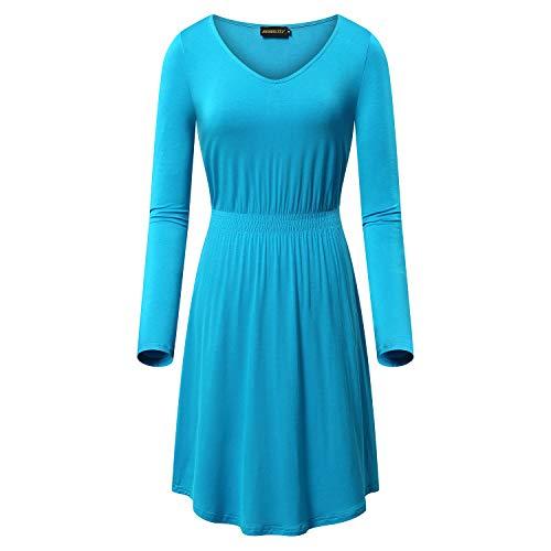NASHALYLY Vintage Dresses - Womens Casual V-Neck A Line Elastic Waist Long Sleeve Midi Dress(Acid Blue XL)