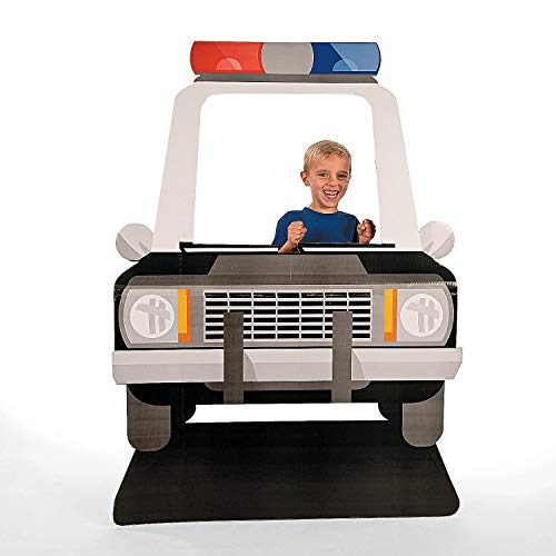Fun Express - Police Car Photo Stand up for Birthday - Party Decor - Large Decor - Floor Stand Ups - Birthday - 1 Piece