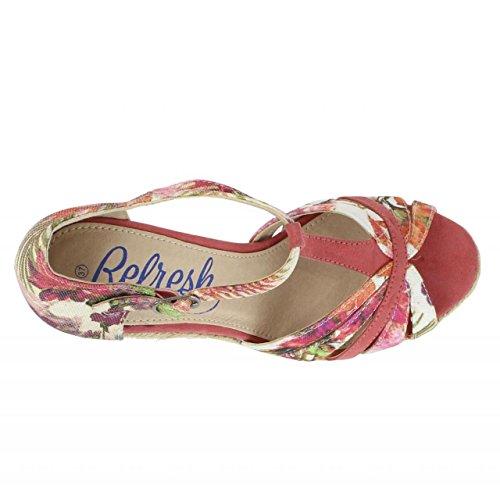 Schuhe keilabsatz für Damen REFRESH 61805 TEXF CORAL