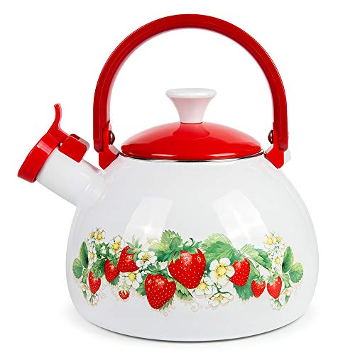 Whistling Tea Kettle Stovetop Strawberry Enamelware Kettle 2.7-qt. (2.5 L)