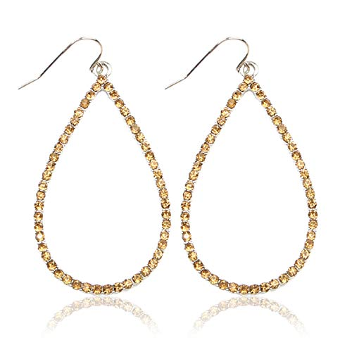 Sparkly Simple Lightweight Geometric Open Hoop Drop Earrings - Cut-Out Dangles Teardrop/Pear/Pointy Oval/Marquise/Circle Cubic Zirconia Crystal/Multi Rhinestone/Acrylic Pearl (Teardrop - Silver Topaz) ()