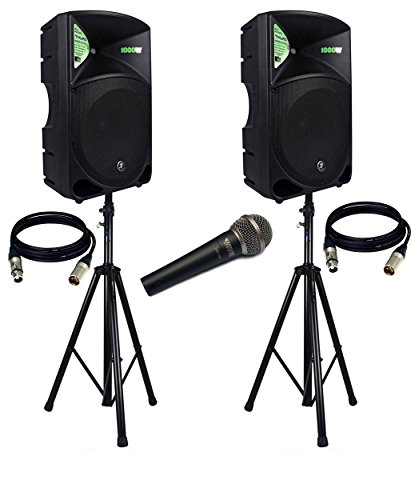 Powered PA Speaker (PAIR) / (2) Xlr to Xlr Cables 20ft ea / (Pair) Speaker Stand w/ Bag and Novik MIC. ()