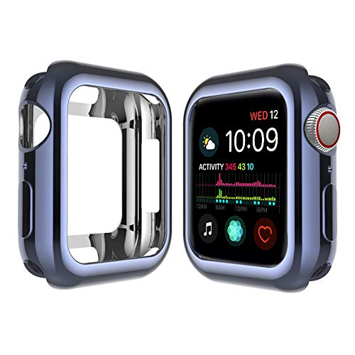 Qinfeng Shock-Proof Anti-Scratch and Shatter-Resistant Soft Slim TPU Protective Cover Bumper Case Compatible with Apple Watch Series 44mm 42mm 40mm 38mm 4 3 2 1 (Shiny Space Gray, 44MM)