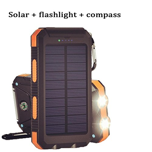 Keychain Lamp Solar Chargers Box, LED Light & Compass & Solar Energy Power Bank Battery DIY Box Case with Dual USB Portable (Yellow)
