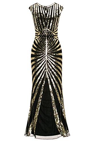Metme Women's 1920s Vintage Sequin Long Flapper Gatsby Dress for Party (L, Black) -