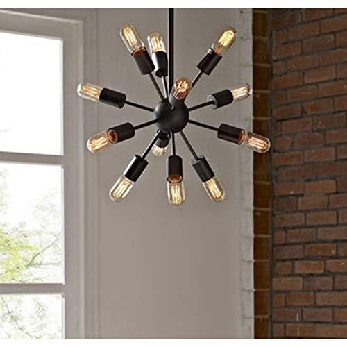 Modern Industrial 12 Light Pendant Chandelier - Includes Modhaus Living Pen Candice Glass Floor Lamp