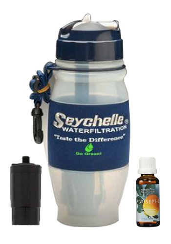 Seychelle 28oz Advance Water Filter Bottle With Replacement Filter and comes with Agrisept-L by Seychelle