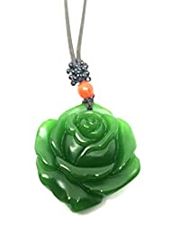 Natural Green Jade Rose Necklace Pendant Leather Rope Lucky Amulet
