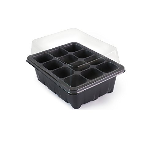 LOVEDAY 12 Grow Trays with Humidity Dome and Cell Insert - Mini Propagator for Seed Starting and Growing Healthy Plants - Durable, Reusable and Recyclable – 10 Pack – 120 Cells (12 Grow Trays) by LOVEDAY