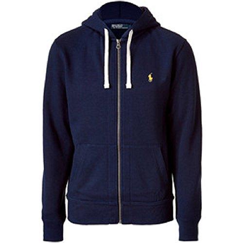 Ralph Lauren Polo Classic Full-Zip Fleece Hooded Sweatshirt (X-Large, Navy/Yellow ()