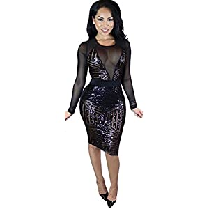 Kearia Womens Sexy Black Sequin Mesh Splice Long Sleeves Clubwear Party  Midi Dress Black Large 0a405be62