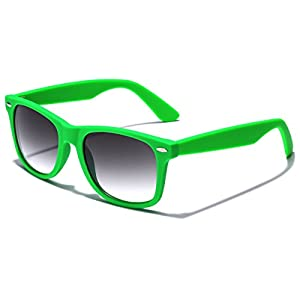 Colorful Retro Fashion Sunglasses - Smooth Matte Finish Frame - Green
