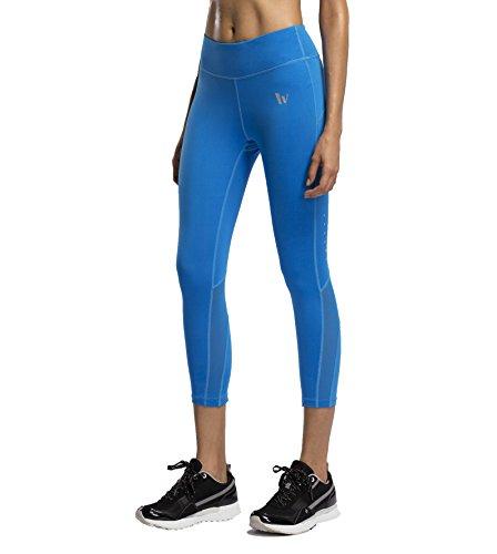 Laisa Sports Women's 3/4 Mesh Capri Leggings Cropped Workout Yoga Pants With Pocket (US X-Small=Asia M, Black)