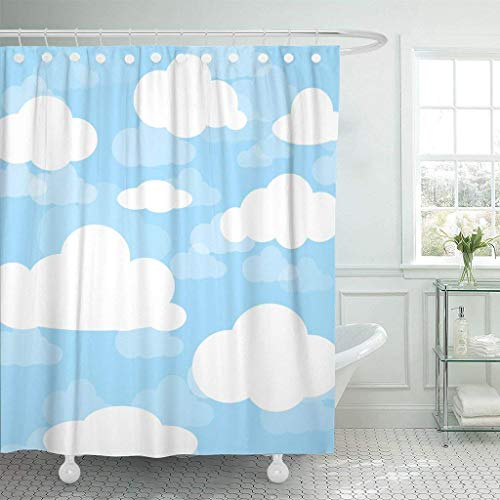 Franala Atmosphere of Cloud and Blue Sky Bright Cartoon Polyester Fabric Shower Curtain Sets with Hooks Creative Bathroom Shower Curtain - Blue Cat Agate