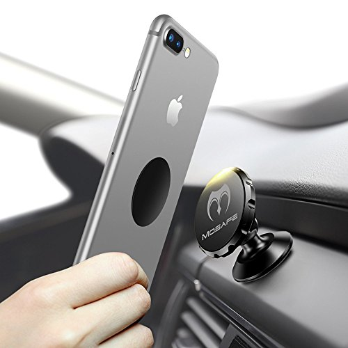 Mosafe Universal Magnetic Car Mount Bracket GPS 360 Degree Rotation Phone Holder Dashboard For iPhone X / 8 / 8 Plus / 7 / 7 Plus / 6s / Galaxy S8 / S7 / S6 (Black)