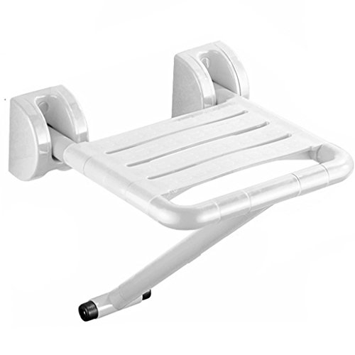 Stainless Shower Steel Seats (Li Wei Shop Shower chair bathroom stool shower seat folding non-slip shower seat stainless steel wall folding chair handicapped high load-bearing shower stool (Color : White, Size : 40.540cm))