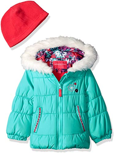 (London Fog Girls' Toddler Puffer Jacket with Scarf & Hat, Cascade Turquoise, 2T)
