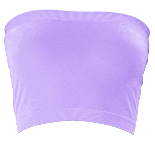 Tube Lavender - KMystic Stretch Seamless Tube Bra Bandeau Top (One Size, Lavender)