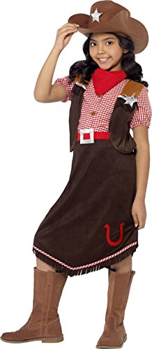 Smiffy's Children's Deluxe Cowgirl Costume, Top, Skirt, Hat and Necktie, Color: Brown, ()