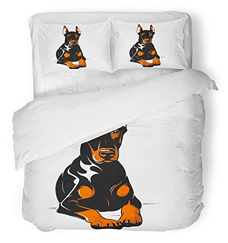 - Emvency 3 Piece Duvet Cover Set Breathable Brushed Microfiber Fabric Dog Doberman Security Angry Animal Bad Pincher Animal Themes Bedding Set with 2 Pillow Covers Twin Size