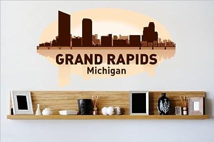 Decal vinyl wall sticker grand rapids michigan mi skyline city view beautiful scene landmarks
