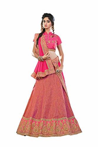 IWS Womens Silk Fabric Pink Pretty Circular Lehenga Style 80144