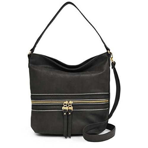 Nicole Miller New York Alexa Hobo Handbag, Black, One Size Nicole Miller Womens Accessories