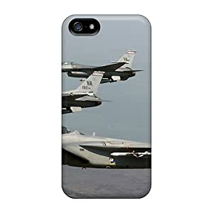 Rugged Skin Case Cover For Iphone 5/5s- Eco-friendly Packaging(f 15 Eagle Joined F 16 Fighting Falcons)