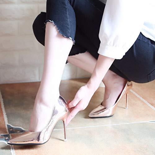 De De Zapatos zapatos De Femeninos De de Mujer Profesional Trabajo Punta 36 Alto Negro tacón Champagne Aguja Femenina Yukun Zapatos con alto Blancos Tacón waHPxIqId
