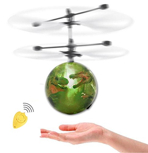 WZG Remote Control Flying Ball with LED Nightlight Disco Toy IR Induction Helicopter Ball for Kids Outdoor Toys