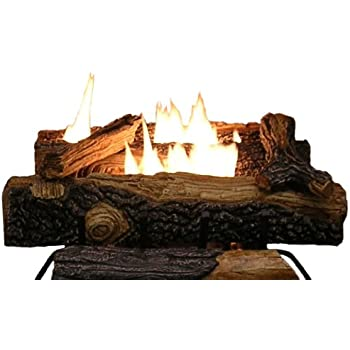 Emberside by SureHeat MV18VFMLP Mountain Vernon Oak Vent Free Dual Burner Log Set for Liquid Propane Fueled Fireplace, 18-Inch