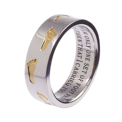 High Polished Stainless Steel Two-Tone Footprints In The Sand Ring