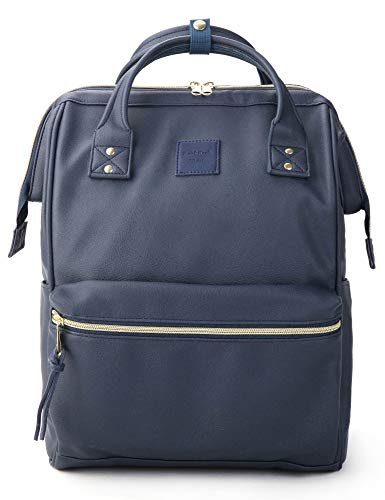 - Kah&Kee Leather Backpack Diaper Bag with Laptop Compartment Travel School for Women Man (Navy, Large)