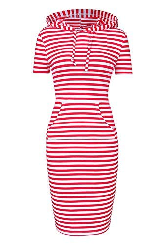 Women sweatshirt Short Sleeve Pullover Stripe bodycon Keen Length oversized Hoodie Dresses with Kangaroo Pocket for Causal Sport (XXL, Red White Short Sleeve)