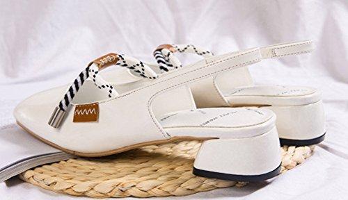 Sur Aisun 4cm Le Sangle Escarpins Blanc Carré Bout Femme Dos Mode wwqxC47U