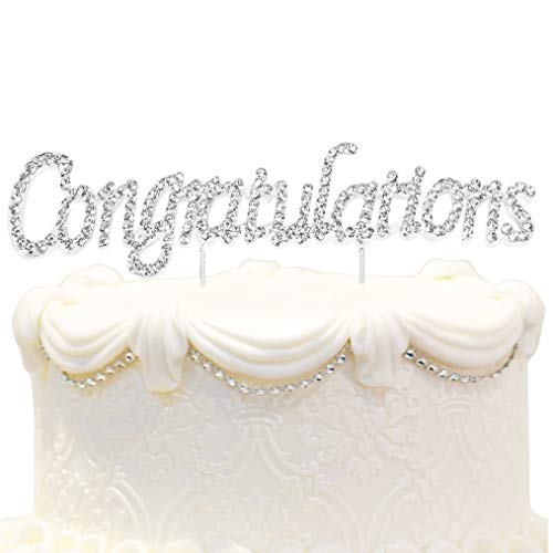 Hatcher lee Congratulations Rhinestone Crystal Metal Cake Topper - Perfect Graduation Decorations Party Supplies for Grad Party Gold (1) (Cake Basket Silver)