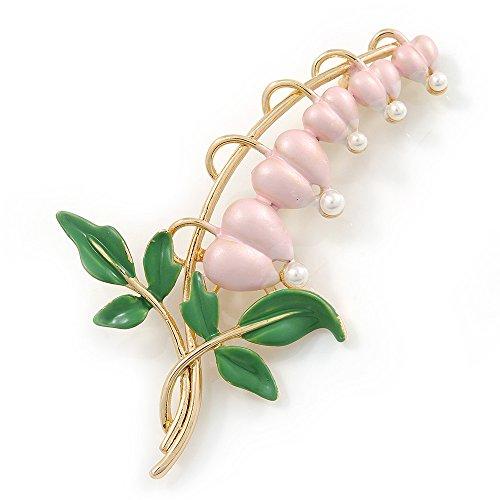 - Avalaya Baby Pink/Green Bleeding Hearts Flower Enamel Brooch in Gold Plating - 80mm L