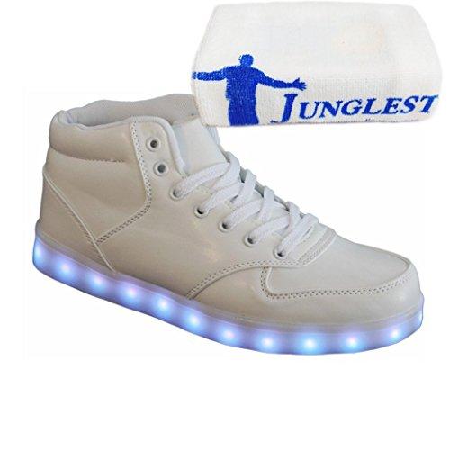 [Present:kleines Handtuch]Gold EU 45, Schuhe Turnschuhe Farbe Leuchtend USB Unisex Damen Aufladen für LED 7 weise Glow JUNGLEST® Sport Metall