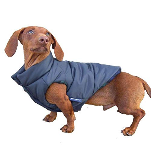 DJANGO Puffer Dog Jacket and Reversible Cold Weather Dog Coat with Full Coverage and Windproof Protection (X-Small, Matte Navy)