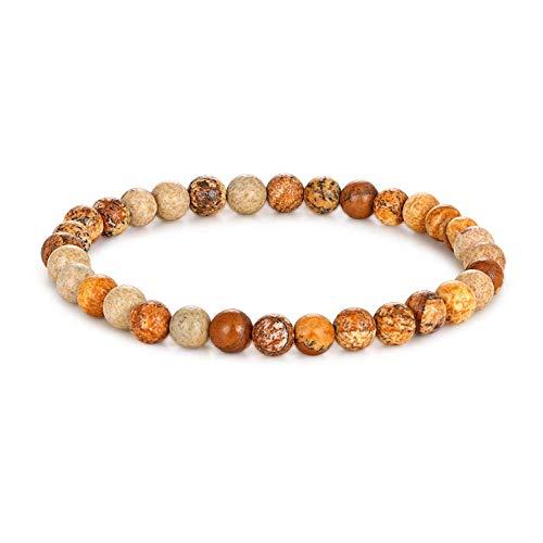 Milo Bruno - 6MM Unisex Natural Semi-Precious Beaded Stone Stretch Bracelet (Picture Jasper) - 8.0