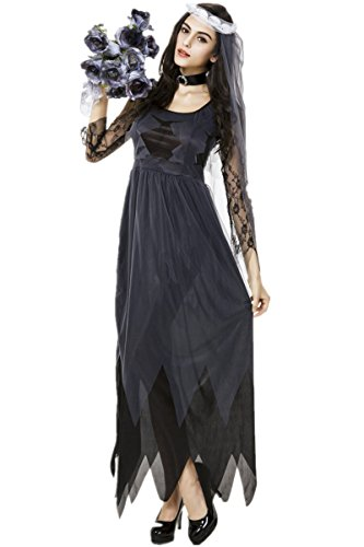 Adult Corpse Bride Deluxe Costumes (Women's Deluxe Lace Corpse Bride Costume Halloween Scary Outfits L)