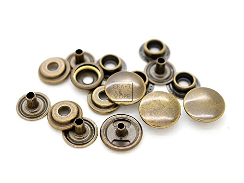 15mm CRAFTMEmore 50 Pack Multi-Size Gold Plating Snap Buttons S-Spring Socket Popper Fasteners Jacket Bag Closures 0.59