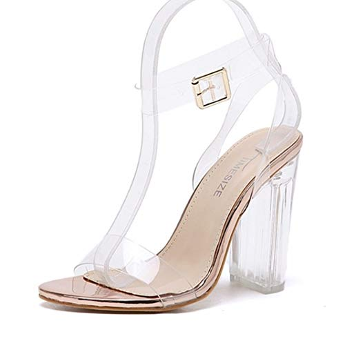 Women's Crystal Block High Heel Sandals Sexy Open Toe Clear Single Band Bridal Ankle Strap Sandal Champagne